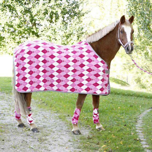 Covalliero fleecedækken til pony, ternet