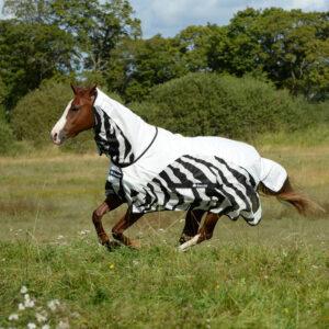 Bucas Buzz-Off regndækken Zebra hel hals